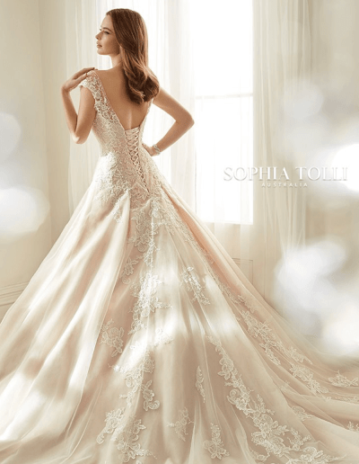 Estelle wedding dress back from the Sophia Tolli 2021 collection