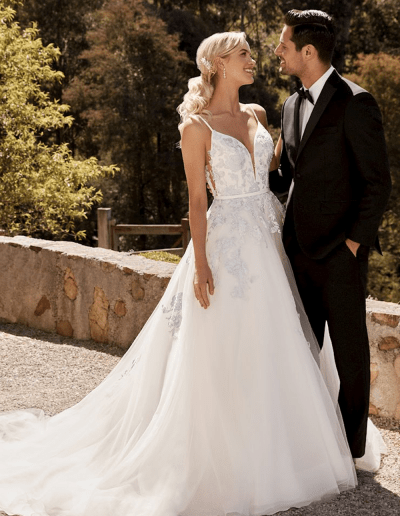 Aurora wedding dress from the Sophia Tolli collection-bride-groom-front