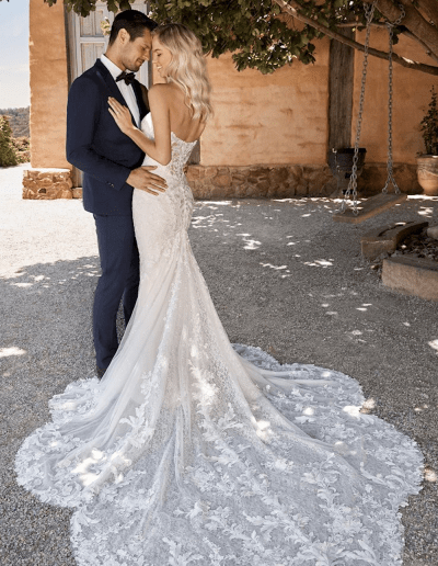 Reba Wedding Dress Bride and Groom from the Sophia Tolli 2021 collection