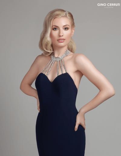Floor length dress with beaded halterneck and a sweetheart neckline