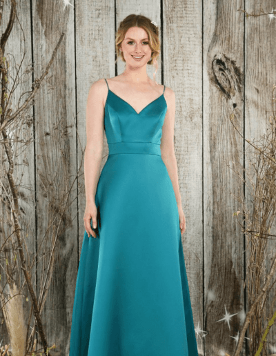 Elegant satin v-neck gown with flattering A-line skirt.