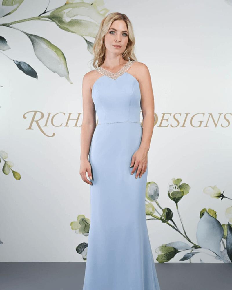 A chiffon dress with a soft figure and high neckline.
