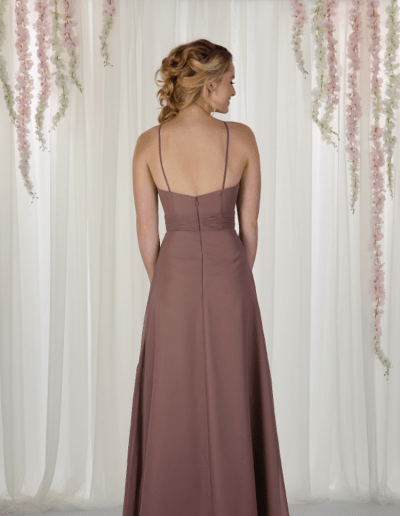 Flattering chiffon dress with a high neckline and spaghetti straps.