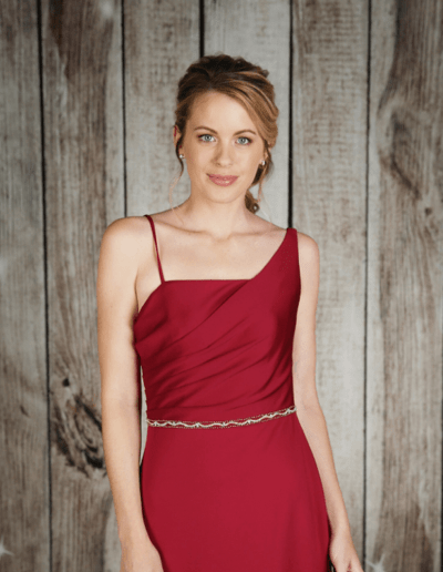 Fitted stretch jersey dress with a pleated bodice, one shoulder design and waist detail.