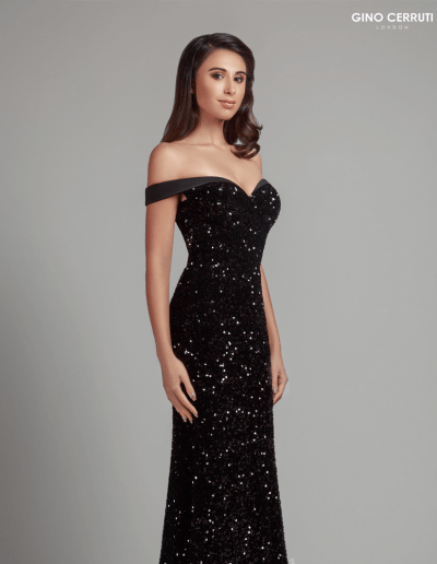 Sequinned bardot black prom dress from Gin Cerruti Collection