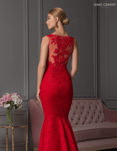 Elegant gown with a mermaid silhouette, full length skirt and lace detail.