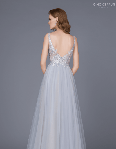 Full length ballgown with tulle skirt and embroidered lace bodice.