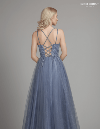 Glittery dress with lace up, beaded bodice and spaghetti straps