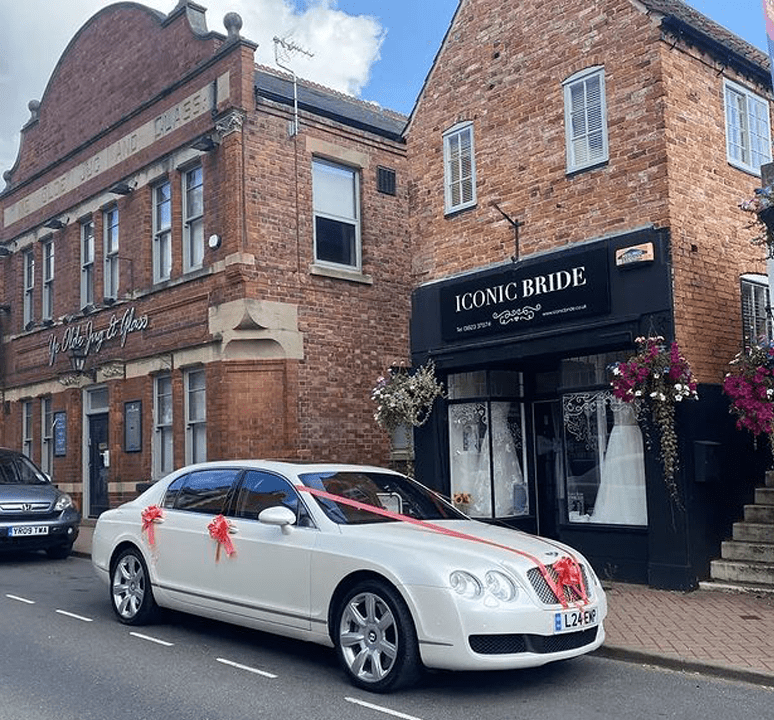 Bentley Flying Spur Car Outside Iconic Bride Boutique