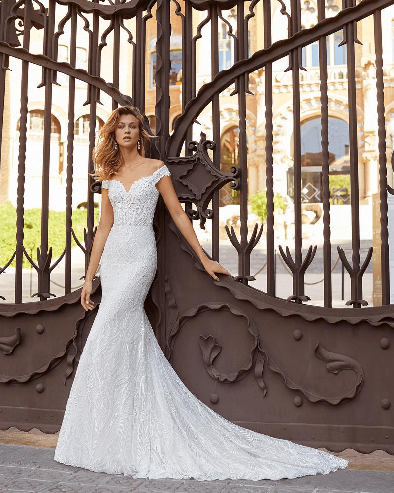 Sheath style wedding dress in beaded lace