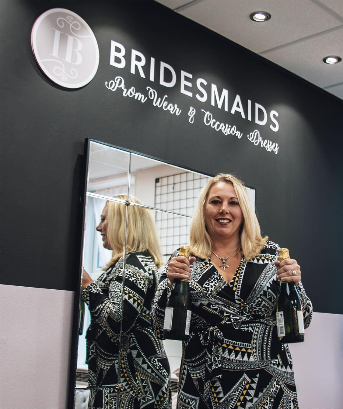 Owner Tina Wade celebrating the opening of the Iconic Bridesmaids Store